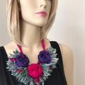 boho floral neckpiece, shades of deep pink and purple sage