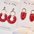 Red & violet floral earrings