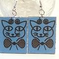 Earrings, dangle style. Cat design. Oh so cute earrings in red, or blue