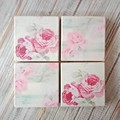 """""""PINK ROSES"""" set of 4 decoupage wooden coasters with matching wooden holder"""