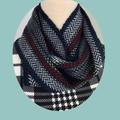 Pure Wool Herringbone Loop Scarf, Handwoven