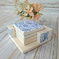 """""""BLUE & WHITE PAISLEY"""" set of 4 decoupage wooden coasters with matching holder"""