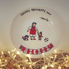 Father's day / soccer -Hand painted personalized plates (keepsakes)