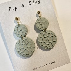 Double circle bubble textured earrings