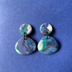Marble Organic Shape Dangles - Polymer Clay Earrings