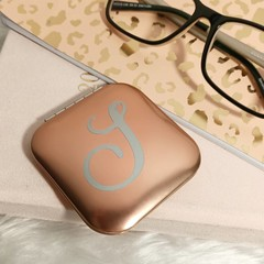 Rose gold double mirror compact with personalised single monogram/initial