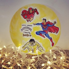 Superheroes -Father's day- Hand painted personalized plates (keepsakes)