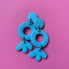 Three Tier Dangle Drops Blue Speckle- Polymer Clay Earrings