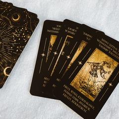 Tarot card Deck, with keywords, black and gold tarot deck, Unique tarot, oracle