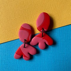 Pink and Red Dangle Earrings - Polymer Clay Earrings