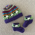 Purple Sheep Beanie and Matching Booties - up to 4 months - Hand knitted