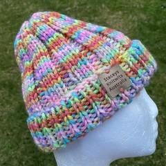 Handmade knitted rainbow beanie, ladies or mens beanie, mens beanie, ladies bean