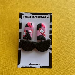 Pink and Black Dangle  - Polymer Clay Earrings