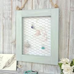"""DECOUPAGE & WIRE"" wooden earring frame holder,  earrings display, rope hanger"