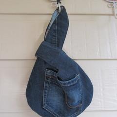 Women's Knot Wristlet - Recycled Repurposed Denim Jean w/ Braid Pocket