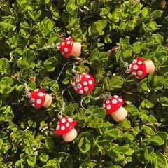 """Magic Red Mushrooms"" Handmade Polymer Clay Drop Earrings"