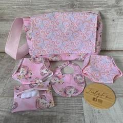 Dolls Nappy bag set, bibs, nappies, pretend play, girls gift,
