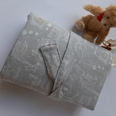 handmade, baby gift, nappy wallet and change mat, grey zoo animals, convenient