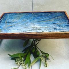 Blue  Folding  acacia wood resin coated tray table  45 cm x 30 cm