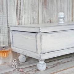 """GREY WOODEN JEWELLERY BOX"", charcoal velvet lining, finial knobs feet & lid"