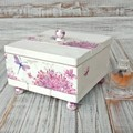 """FLOWERS & BUTTERFLIES"" decoupage wooden jewellery box, pink velvet lining"