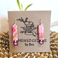 Retro Pink Fabric Earrings