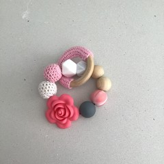 Pink Tone Teething Ring with Rose Approx 23cm
