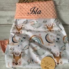 Personalised baby blanket, minkie blanket, pram blanket, gender neutral