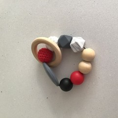 Black, Grey and Red Teething Ring Approx 23cm