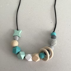 Green and Grey Tone Sensory Necklace 90cm
