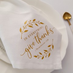 Christian Bible Verse Scripture White Cotton Serviettes Gold Wedding Napkins