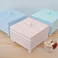 """""""PASTEL WOODEN JEWELLERY BOX"""", crushed velvet lining, choice of colours"""