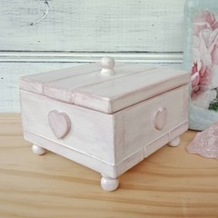 """""""PINK WOODEN JEWELLERY BOX"""" with hearts, crushed velvet lining, wooden knobs"""