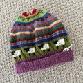 Purple sheep Beanie - to fit size 4-8 years -hand knitted