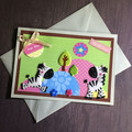 Birthday Card with Zebras and Colourful Scene