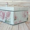 """""""FLORAL DECOUPAGE"""" wooden jewellery box, velvet lining + divider, lift off lid"""