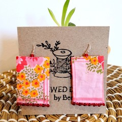 Pink Flower Fabric Earrings