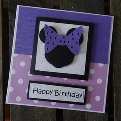 Handmade Card - Minnie Mouse - Purple