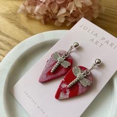 Dragonfly Teardrop, Handmade Pink Shimmer Polymer Clay Earrings