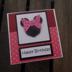 Handmade Card - Minnie Mouse - Pink