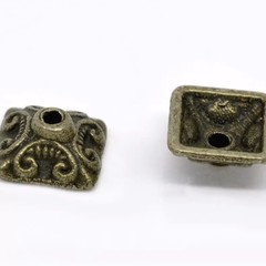 10 PCs 10mm Ornate Square Bead Caps 2 Colours Antique Bronze Silver