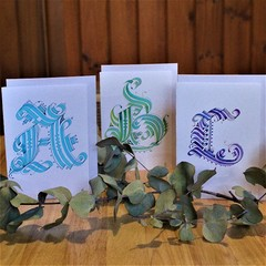 Handmade Gothic Initial Cards