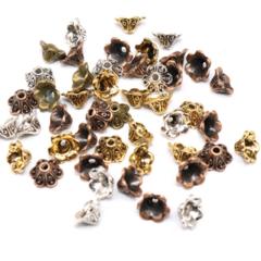 20pcs Flower Cone Bead Caps 10x5mm 3 Colours Antique Bronze Copper Silver