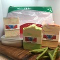 3 hand made soaps in a RECYCLED toiletry bag with bonus aluminum soap tin
