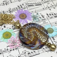 Handmade Dragon Bead Lampwork Wearable Art Raw Brass