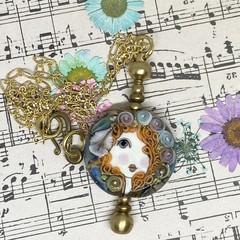 Handmade Angel Glass Bead Lampwork Wearable Art Raw Brass