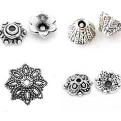 Tibetan Silver Bead Caps 7mm - 15mm Assorted Styles 10 - 50 Pcs