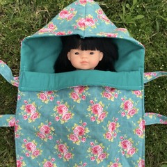 Snuggle Bug Sleeping Bag for Doll or Teddy (Tilda Floral or Honey Bee)