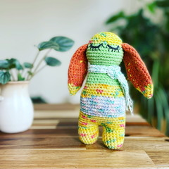 Scrappy boo crochet toy with orange ears