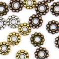 50pcs Flower Spacer Beads Assorted Colours Sizes Antique Copper Bronze Gold